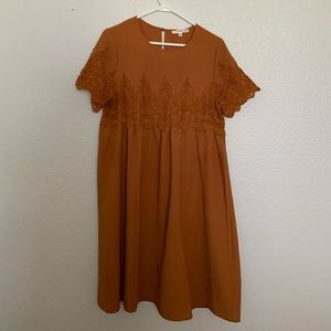 Rust Short Sleeved Dress with Lace Details